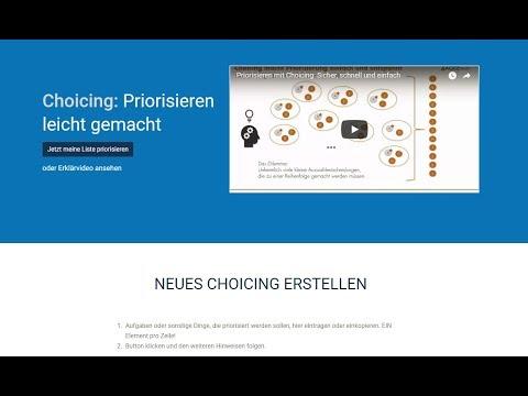 Kurzanleitung: Schnell und sicher Priorisieren mit Choicing