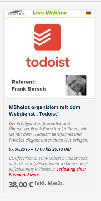 Webinar Todoist Academia